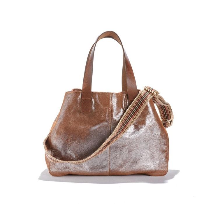 Grand sac cabas en cuir, avec bandoulière marron irisé La