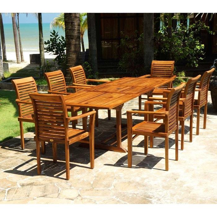 Salon jardin en teck huilé livré avec 8 fauteuils marron ...