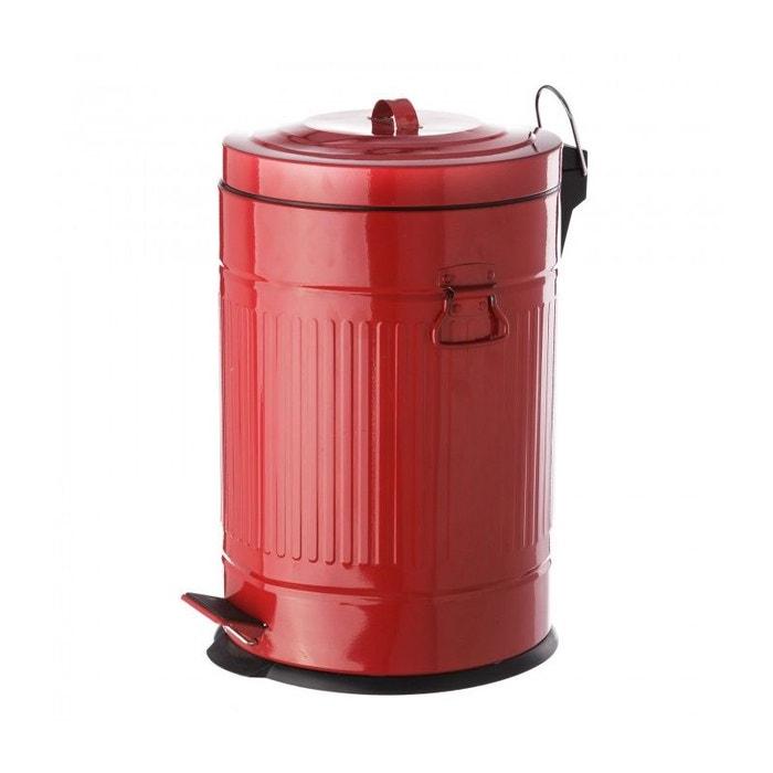 Poubelle De Cuisine Retro En Metal Rouge 20l Rouge Wadiga La