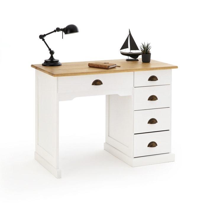 Betta 3 Drawer Pine Desk White Wood