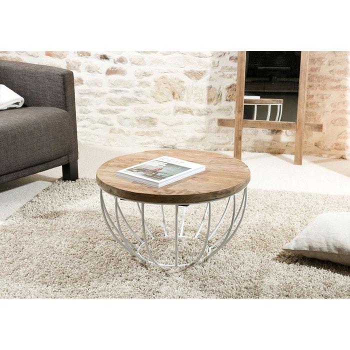 acheter populaire d00c4 4f4da Table basse ronde 60cm plateau teck recyclé métal blanc style contemporain  industriel SWING