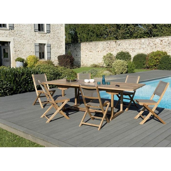 Salon de jardin bois de teck table de jardin extensible rectangulaire  180/240x100cm + 6 chaises pliantes textilène SUMMER
