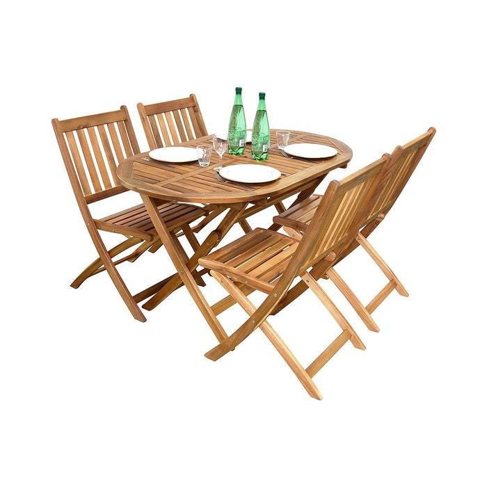 Salon de jardin en acacia 4 chaises et 1 table ovale, fidgi ...