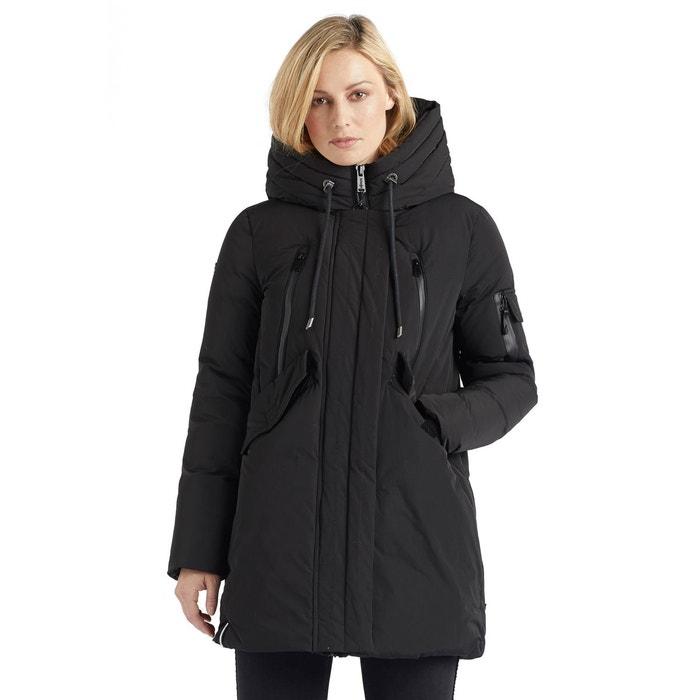 Manteau avec cordon de serrage sur la capuche safina noir