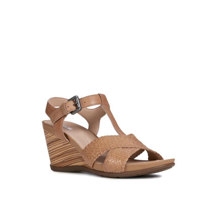 Sandales compensées respirantes en cuir dorotha taupe clair