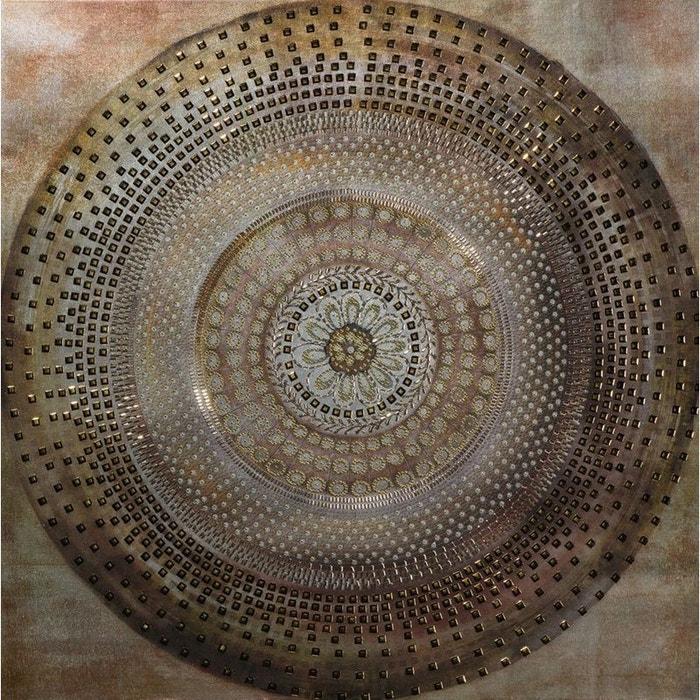 Tableau Abstrait Rosace Peinture Acrylique Et éléments Métal Tons Beiges Marrons Et Dorés 90x90cm