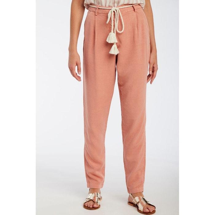 Pantalon fluide en lin mélangé, ceinture corde rose Naf Naf