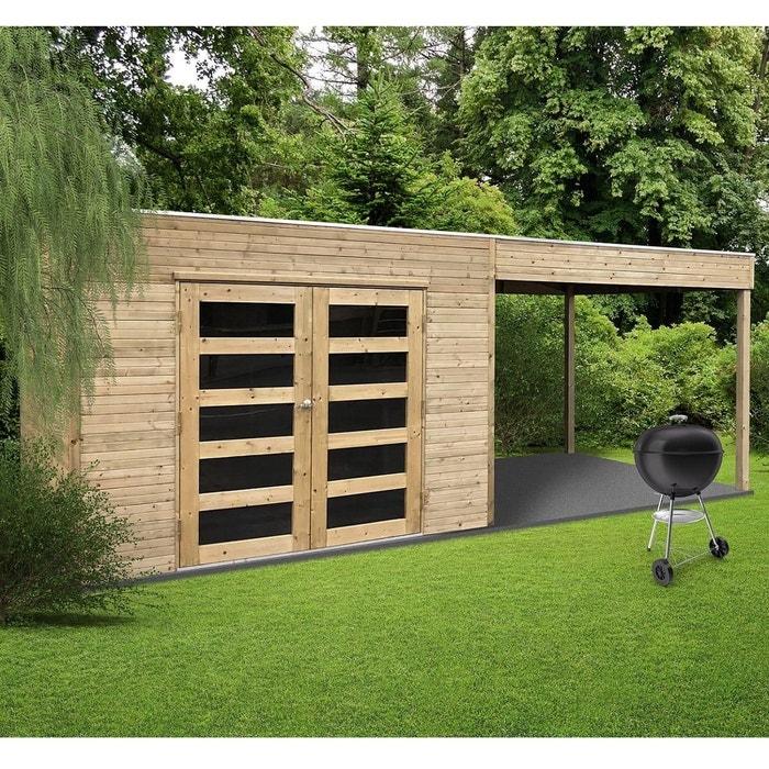Solid Abri de jardin en bois trait? autoclave avec terrasse lat?rale  Salerno 5,40 m? S8732-1