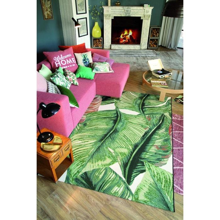 Tapis salon jardin feuille, tapis d\'exterieur. vert multi ...