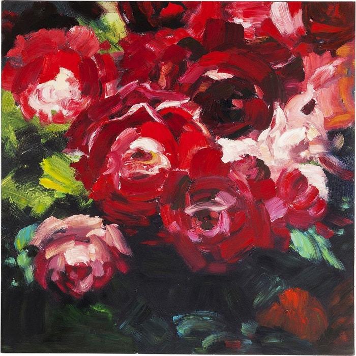 Peinture à l'huile roses 100x100cm rouge