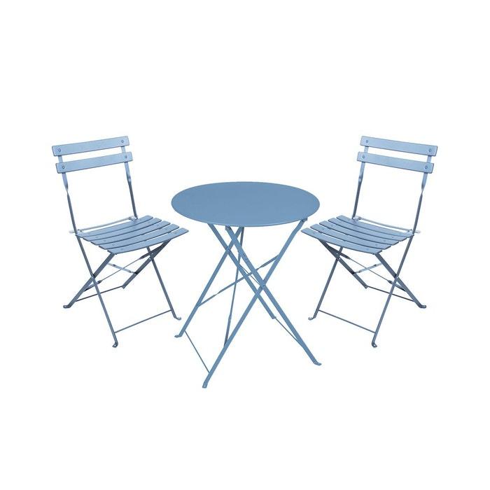 Salon de jardin 2 places en acier pliables Mistral bleu tempête
