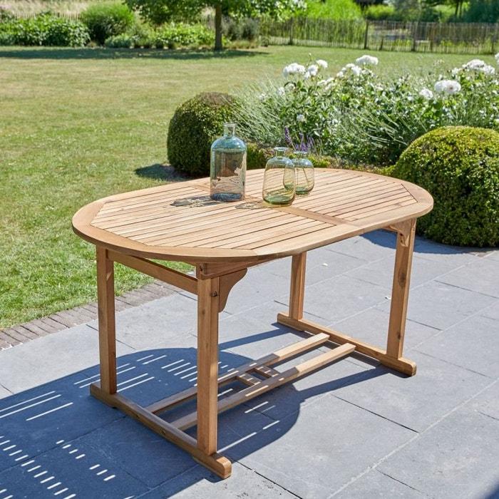 Table de jardin en bois d\'acacia fsc avec rallonge 6 à 8 ...