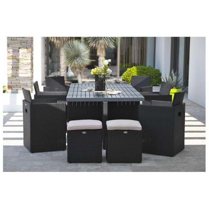 Salon encastrable 10 places en résine tressée, plateau aluminium: 1 table +  6 fauteuils + 4 poufs