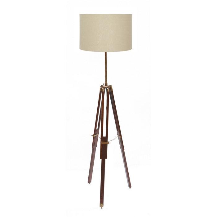 Dark Wood Tripod Floor Lamp