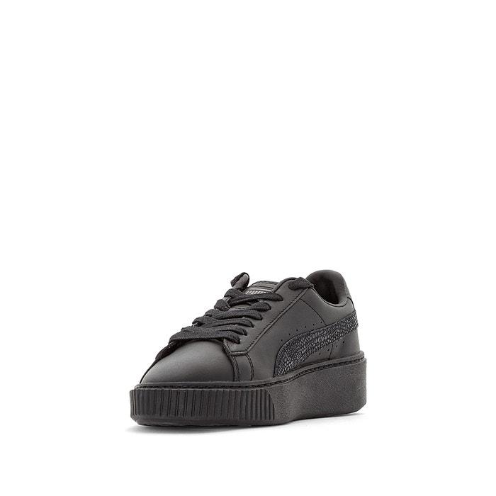 Puma Zapatillas con tacón de cuña Platform Metallic Negro