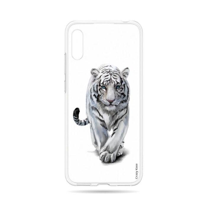 Coque pour Huawei Y6 2019 souple Tigre blanc