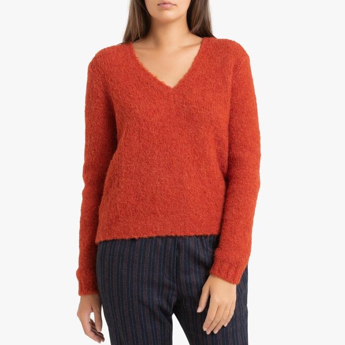 Pullover mississipi, v ausschnitt, grobstrick karminrot