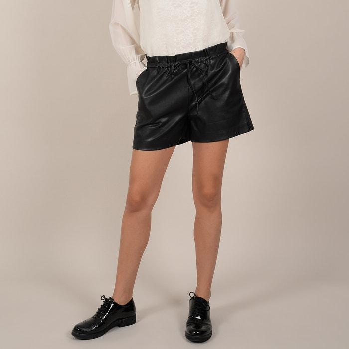 miglior sito web eea46 4fba9 Shorts in similpelle vita alta plissettata da annodare nero ...