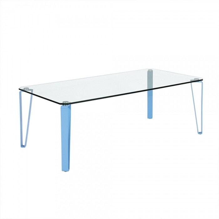 Table Basse Rectangulaire En Verre Et Metal Colore Calicosy