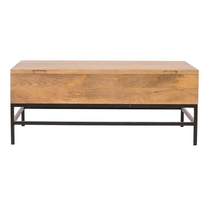 Table Basse Relevable Industrielle Manguier Et Metal 110cm