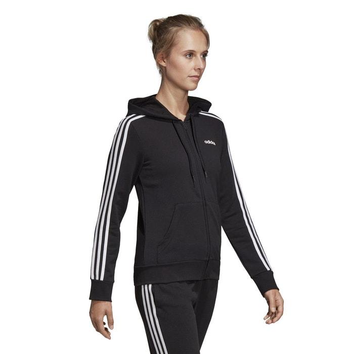 Sweat shirt essentials 3 stripes zippé à capuche noir Adidas