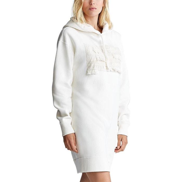 Robe pull à capuche en molleton blanc cassé Polo Ralph