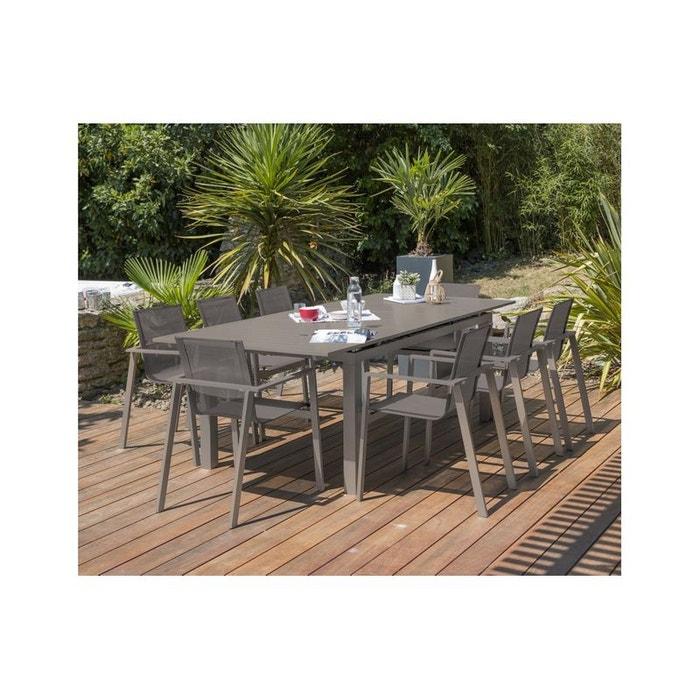 Salon jardin zahara table rallonge et 8 fauteuils beige Dcb ...