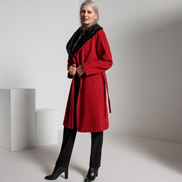 Abrigo de lana mezclada y cuello de pelo sintético rojo
