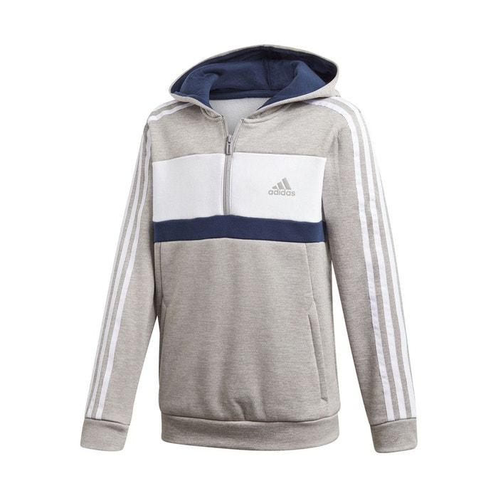 Sweat zippé 7 – 16 ans gris + blanc + noir Adidas Originals