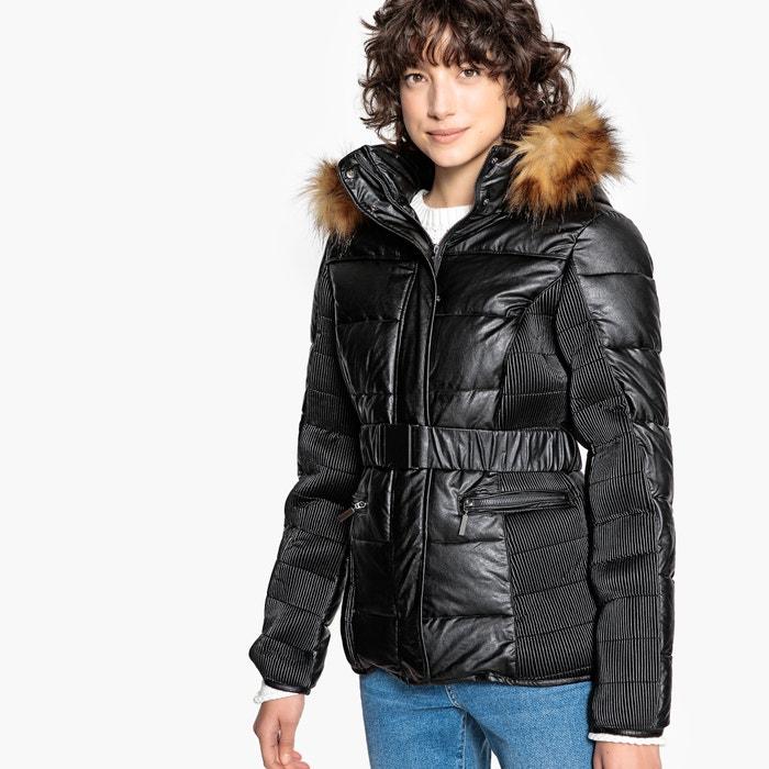 Chaqueta acolchada con capucha con pelo sintético negro La