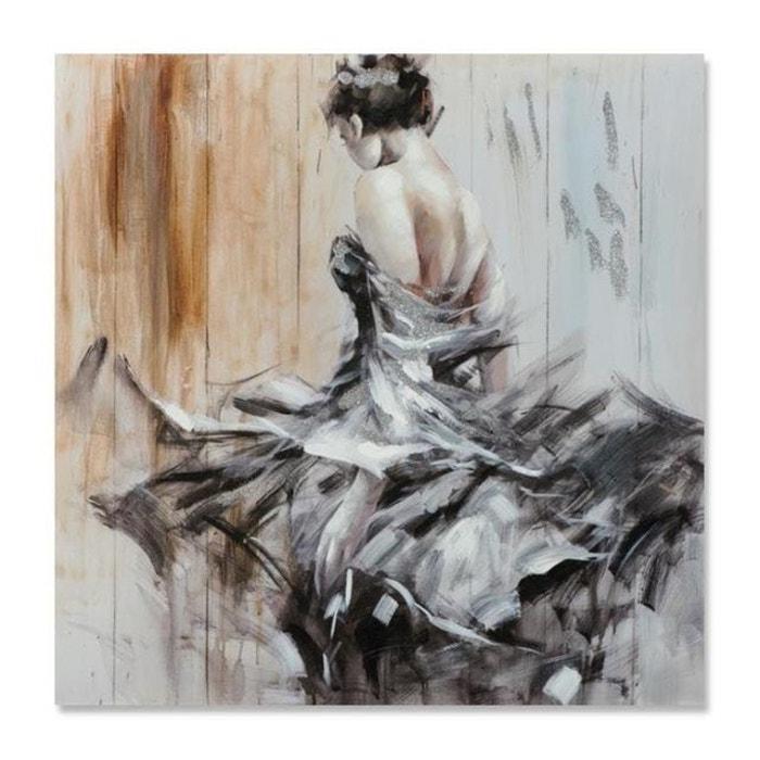 Danse 100x100 Peinture Acrylique Carrée Noir Beige Avec Effet Pailleté