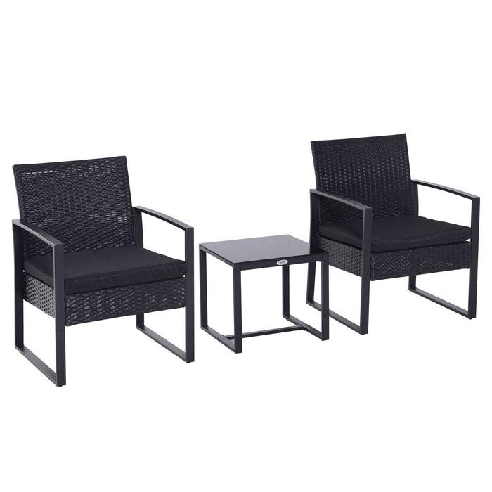 Salon de jardin 2 places avec table basse noir noir Outsunny ...
