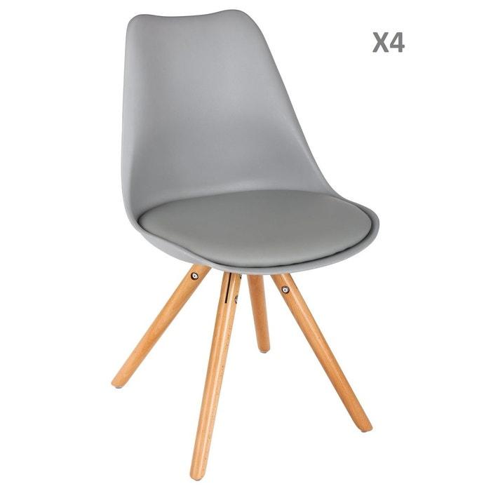 Lot de 4 chaise scandinave raku h. 44,5 cm gris