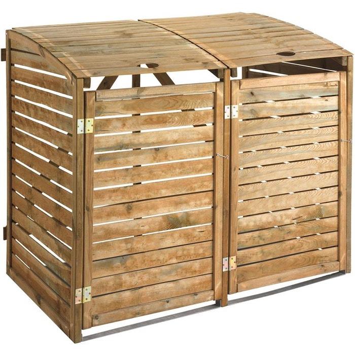 super populaire 695f0 41545 Double cache-poubelles en bois traité naturel Jardipolys ...