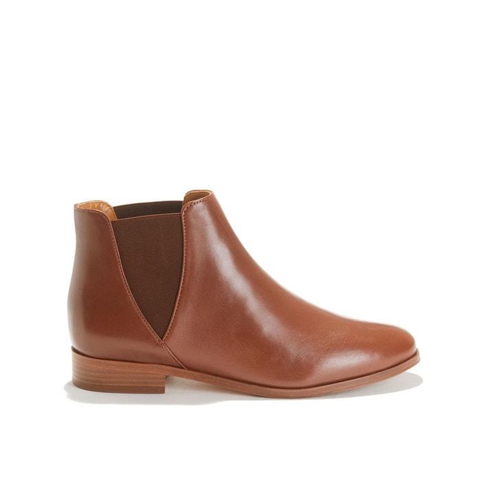 Boots plates en cuir la londonienne cognac Bobbies | La Redoute