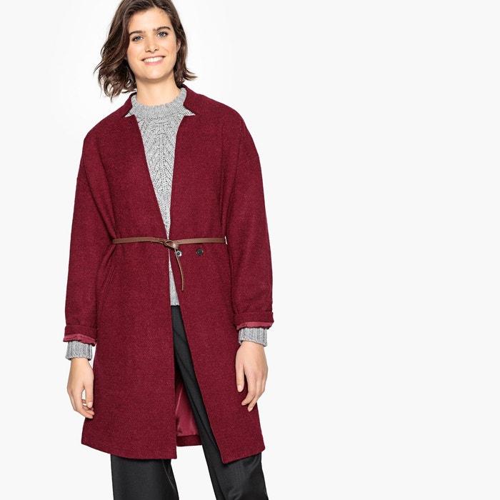 Manteau en laine avec ceinture bleu nuit Mango | La Redoute