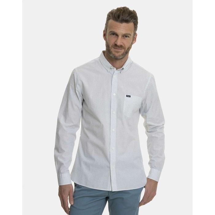 Chemise à carreaux vichy coupe slim manches longues blanc