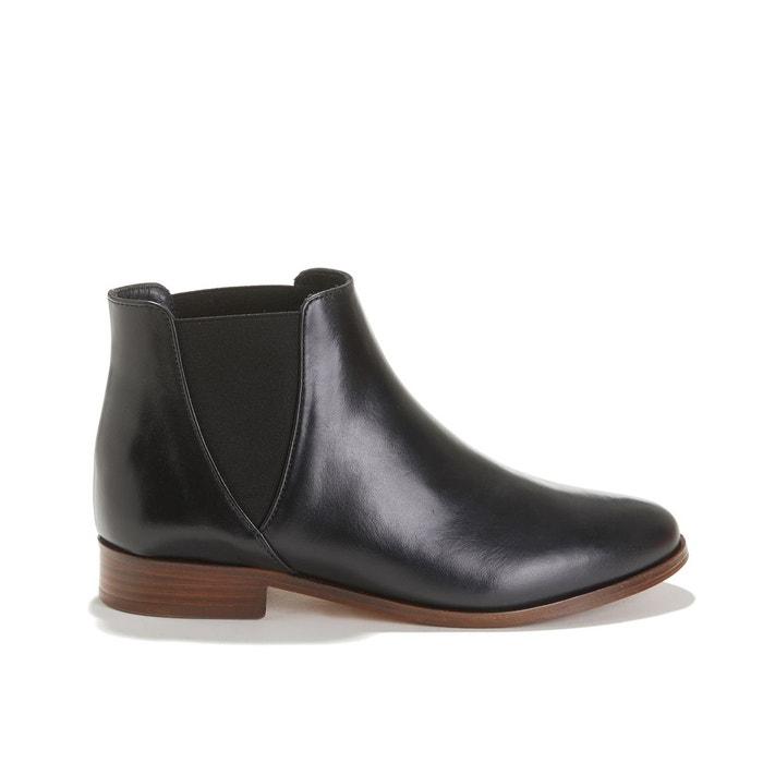 Boots plates en cuir lisse la londonienne noir Bobbies | La
