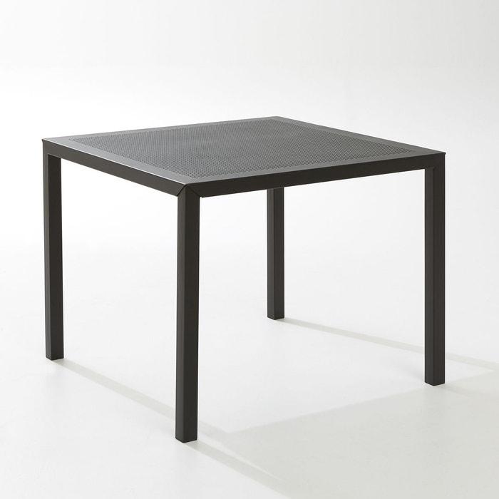 Table de jardin carrée, métal perforé, choe noir La Redoute ...