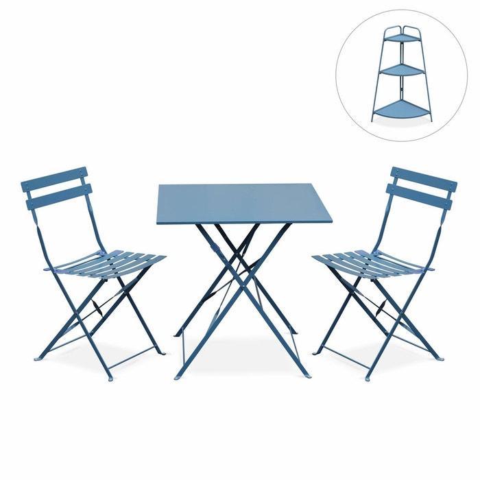 Salon de jardin bistrot pliable emilia carré bleu grisé 2 ...