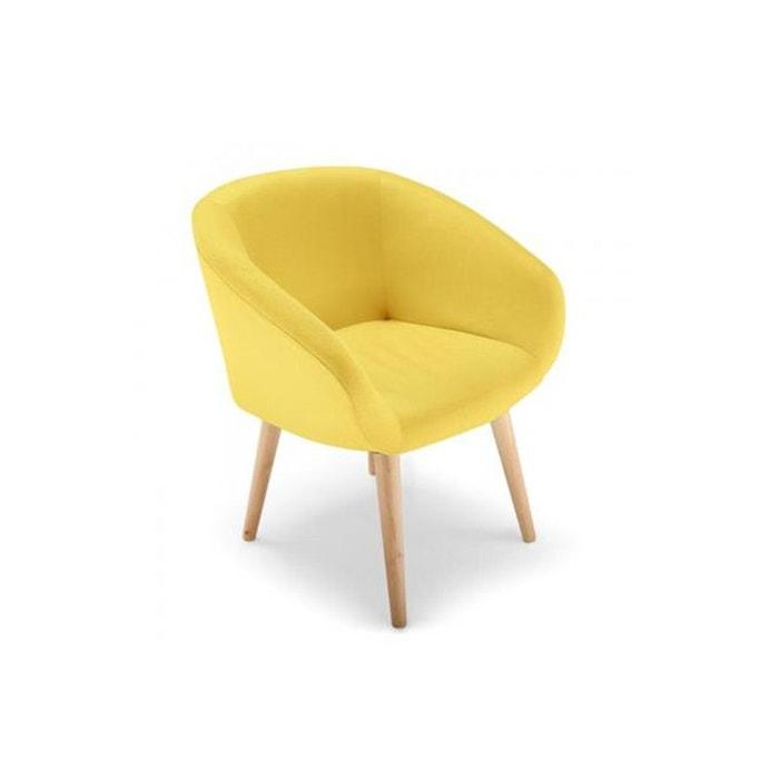 chaise scandinave tissu jaune frangie