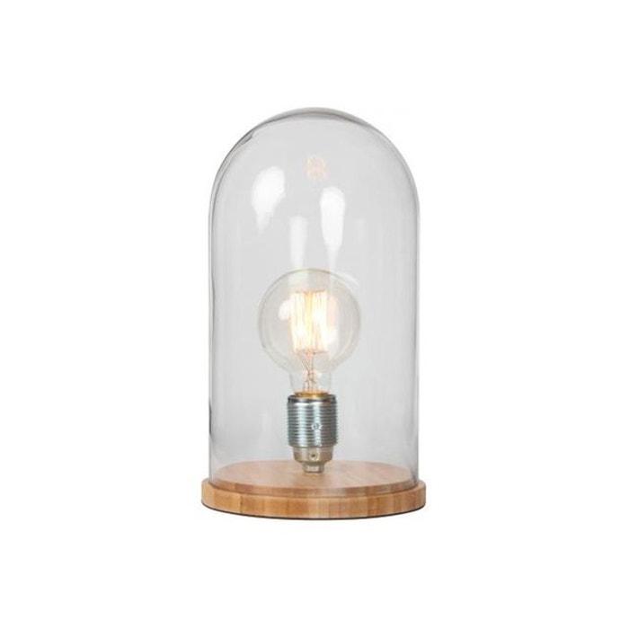 Lampe A Poser Socle En Bambou Cloche En Verre D17xH30 KUPFER