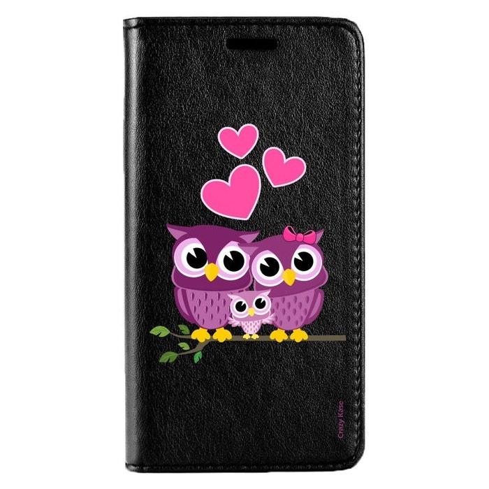 Etui pour Huawei P20 Noir motif Famille Chouette