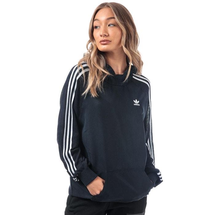Sweat à capuche long 3 bandes bleu marine Adidas Originals