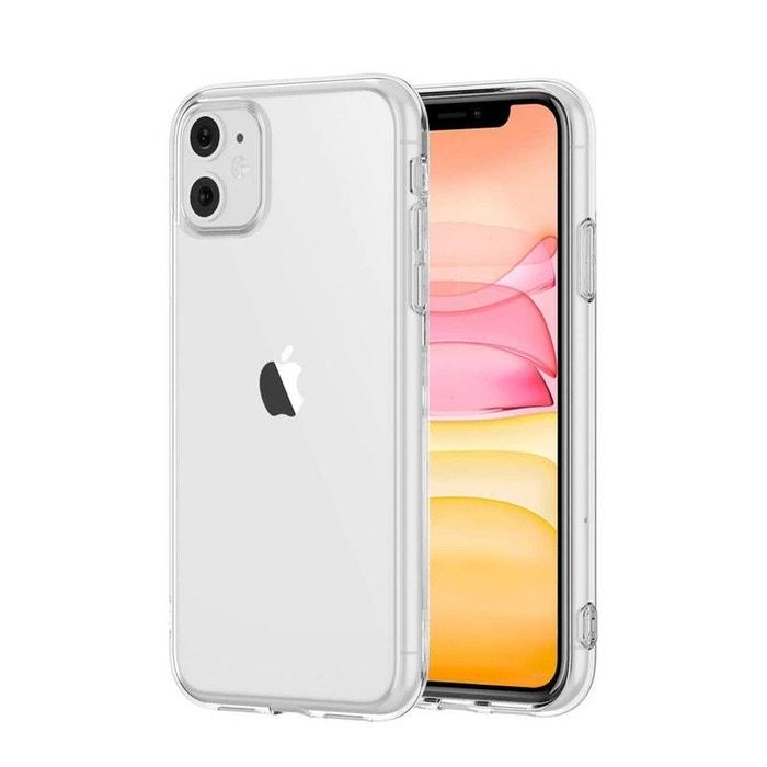 Coque iPhone 11 pro max transparente en silicone souple contour métal noir