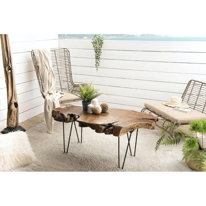Table basse bois naturel découpe de teck pieds épingle métal