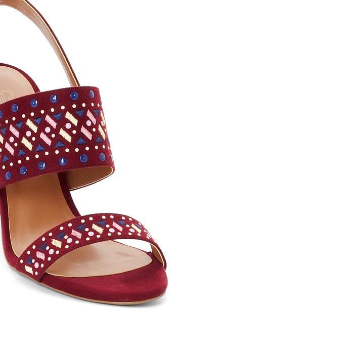 Sandalen met geborduurd motief pruim La Redoute Collections