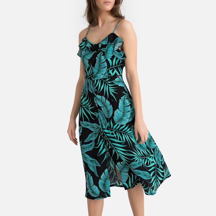 Robe Fines Bretelles Imprime Tropical Tula Imprime Fond Noir Pepe Jeans La Redoute