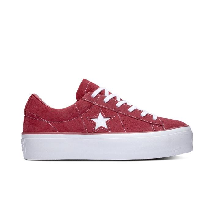 Baskets basses cuir suédé one star platform Converse rouge