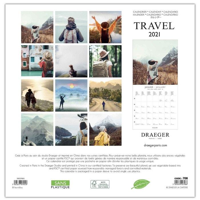 Grand calendrier mural 29x29cm 2021 voyageur multicolore Draeger